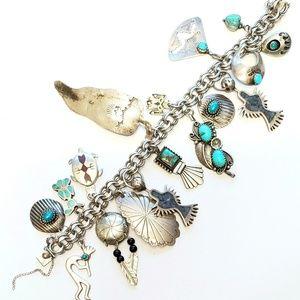 Native American Charm Bracelet Turquoise Thunderbi